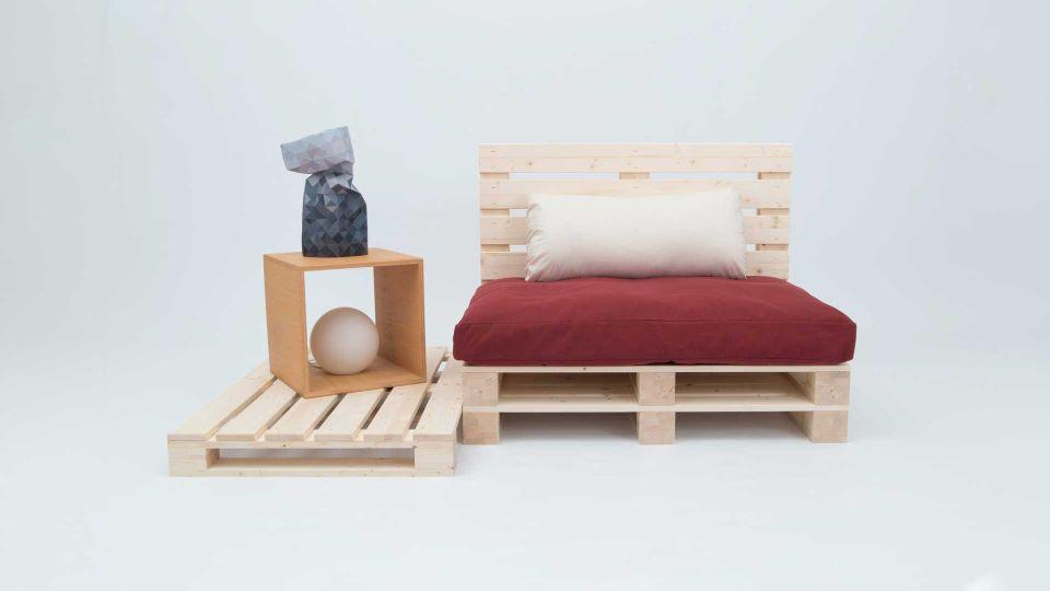 Bettelemente Palette; Material Lindenholz unbehandelt; 4er Pack|Sitzecke aus Paletten